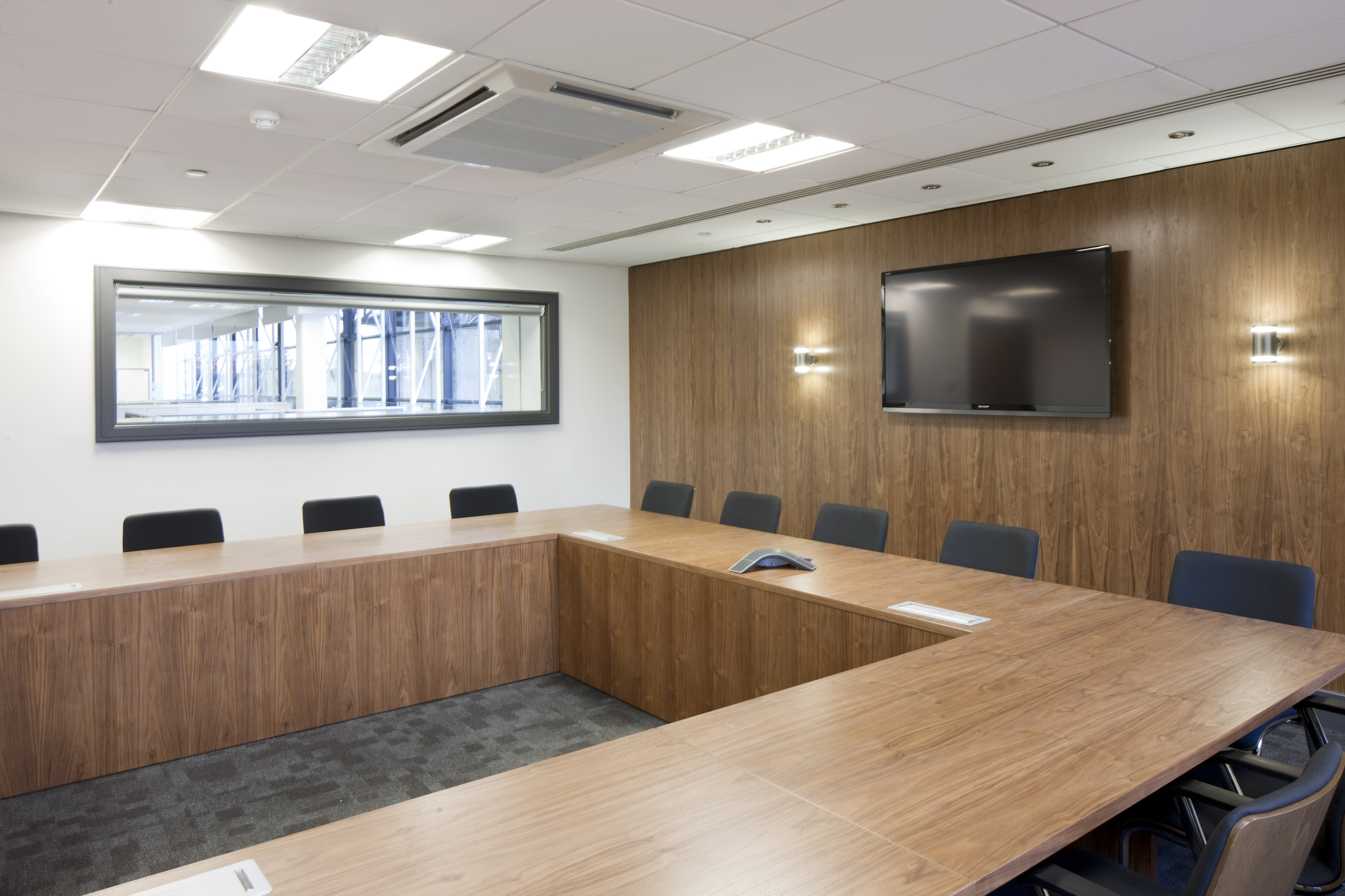 BESPOKE SUITE OF TABLES AND WALL PANELLING MANUFACTURED BY EBORCRAFT